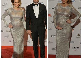 Laura Cosoi, insarcinata in 7 luni si foarte sexy intr-o rochie Stephan Pelger