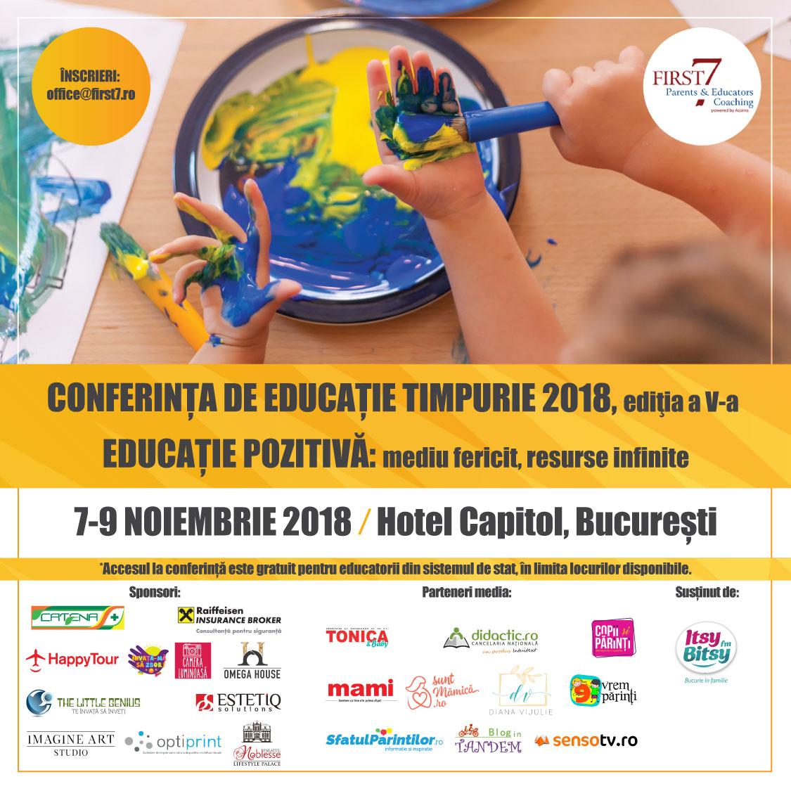 """""""Educatia pozitiva: mediu fericit, resurse infinite"""":  editia a 5-a, speakeri internationali"""