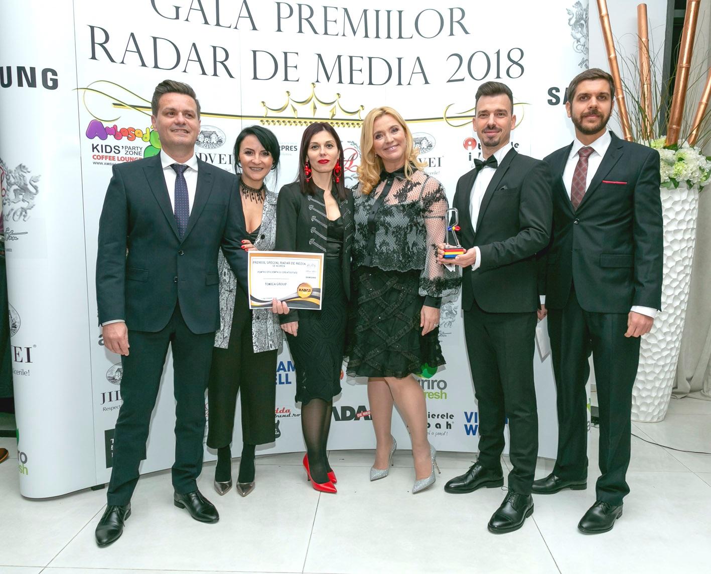 Eficienta si creativitate rasplatite: Tonica Group, premiata la Gala Radar de Media 2018