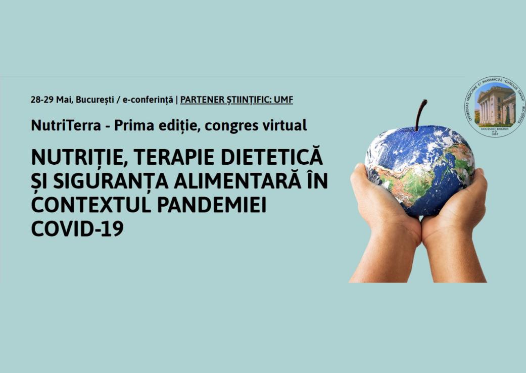 """Congres virtual """"Nutriţie, terapie dietetică şi siguranţa alimentară în contextul pandemiei COVID-19"""""""