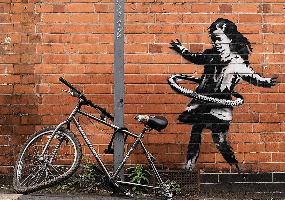 Desen semnat de Banksy, apărut în Nottingham